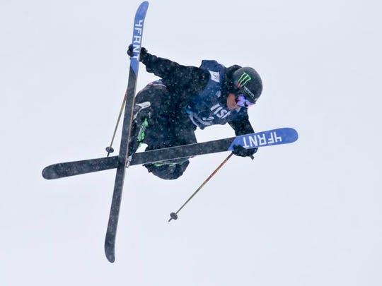 Reno's David Wise skis his winning run during the