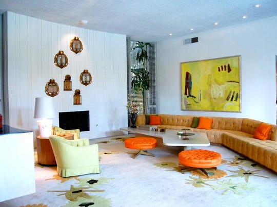 The interior designer Arthur Elrod used his first home on West Via Lola in Palm Springs to experiment with colors, textures and global furnishings, such as in this living room.