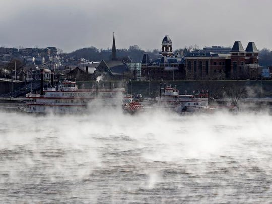 Steam comes off the Ohio River in sub-zero temperatures Monday.
