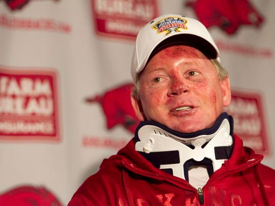 Arkansas football coach Bobby Petrino speaks during a news conference at a Fayetteville, Ark., on Tuesday, April 3, 2012, after being released from a hospital after he was injured in a motorcycle accident.