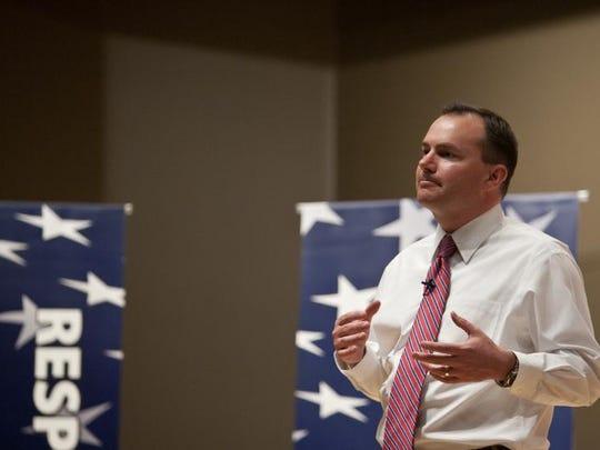 Utah Senator Mike Lee speaks at a town hall meeting in Cedar City on Wednesday, Aug. 31, 2011.