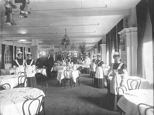 The L.S. Ayres Tearoom in Indianapolis was where the owners of Fryberger's Tea Room in Noblesville sent waitresses to learn how to properly serve fried chicken on fine china. Fryberger's operated in the 1930s and '40s. This L.S. Ayres Tearoom photo dates to 1905.