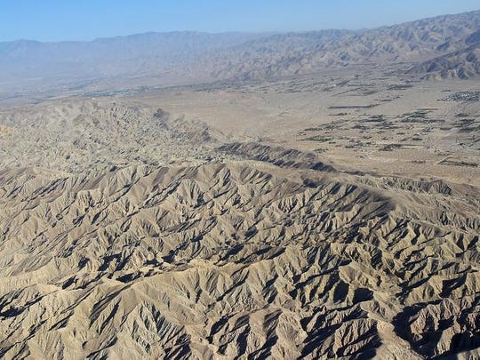 The San Andreas Fault runs along these badlands south of the Sky Valley area.