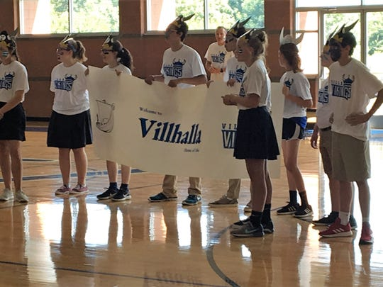 Villa Madonna Academy students celebrate their new Viking mascot August 23, 2018.