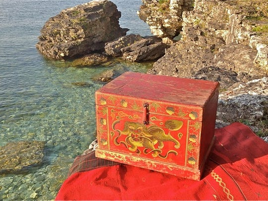 Decorative Asian box from Linden Gallery, one of the sites on this weekend's Ellison Bay Spring Art Crawl.