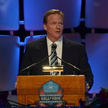 Aug 1, 2014; Canton, OH, USA; Roger Goodell speaks at the 2014 Pro Football Hall of Fame Enshrinees gold jacket dinner at Canton Memorial Civic Center. Mandatory Credit: Kirby Lee-USA TODAY Sports