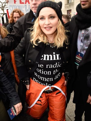 Madonna arrives to the rally at the Women's March on Washington, Saturday.