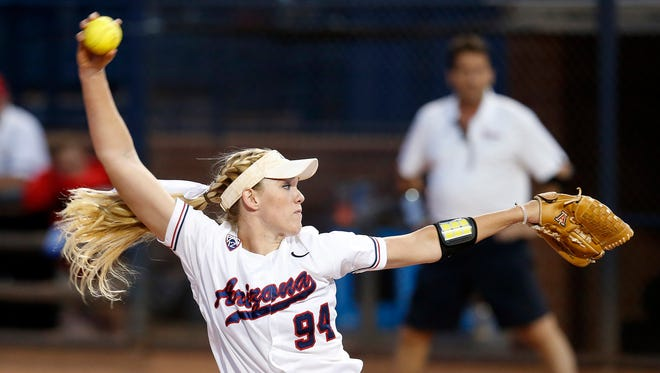 Arizona pitcher Michelle Floyd (94) throws in the first inning during an NCAA college softball tournament regional game against St. John's, Friday, May 15, 2015, in Tucson, Ariz.