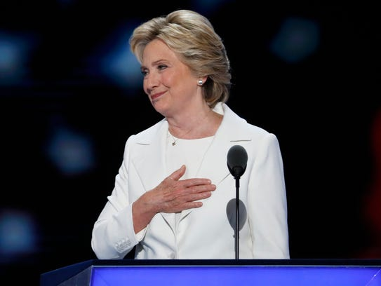 Democratic presidential nominee Hillary Clinton finishes