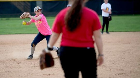 Heather Carver makes a throw during Tuscola softball practice on Thursday.