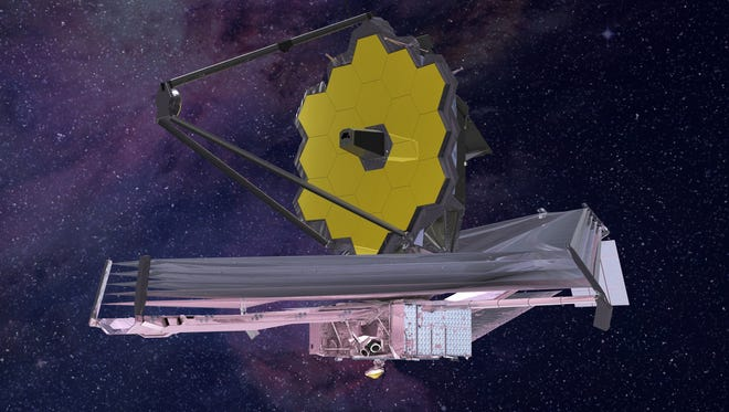 An artist's conception of the James Webb Space Telescope as it will appear once in orbit around the sun.