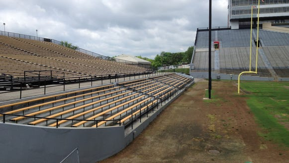 South end zone bleachers staying