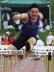 Andrew Peterson of Demarest in the Boys 110 meter hurdles in the B division.