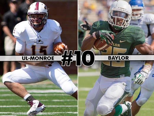 Louisiana-Monroe (2-1) at No. 19 Baylor (2-0), 4 p.m. ET, FOX Sports 1: Coming off a bye week, the Bears get a final tune-up against a solid UL-Monroe before their Big 12 schedule season gets underway. Heisman dark horse Lache Seastrunk is averaging 9.3 yards per carry for Baylor.