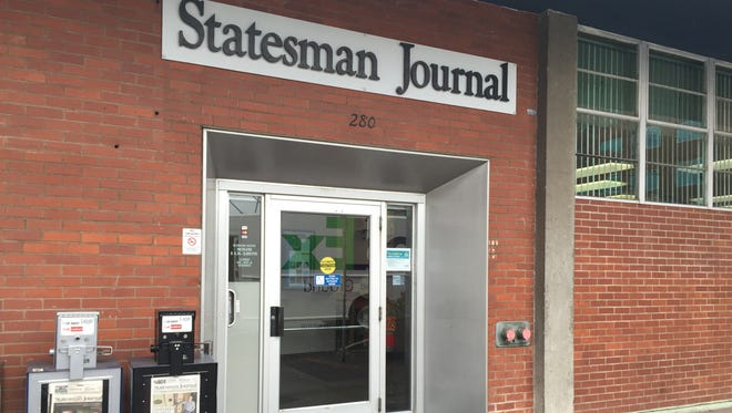 The entrance to the Statesman Journal on Church Street NE in downtown Salem.