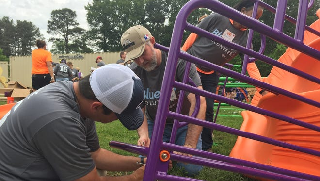 BlueCross BlueShield of Tennessee Health Foundation helped build and finance the playground at Alton Park in Chattanooga. About 300 BCBST employees pitched in to assemble the playground in two days. It's beginning to work with towns to put playgrounds in rural communities.