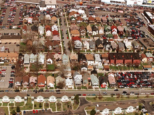 The neighborhood  known as Corktown on the Detroit Tigers opening day in April 1999.