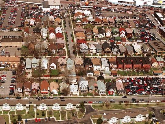 The neighborhood  known as Corktown on the Detroit