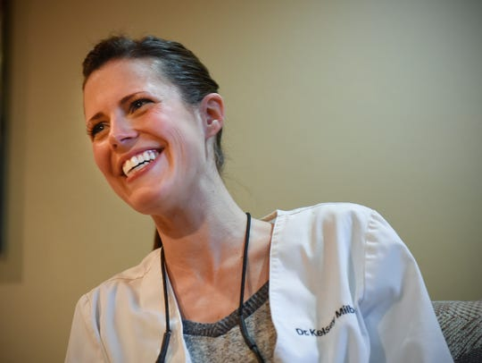 Dr. Kelsey Milbert smiles during an interview at Styles,