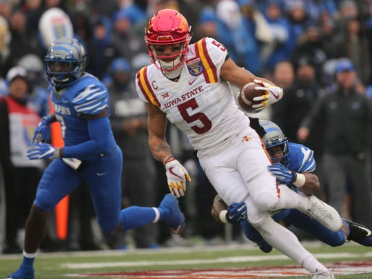 Iowa State Cyclones wide receiver Allen Lazard (5) is tackled by Memphis Tigers defensive back Terrell Carter (2) during the second half of the AutoZone Liberty Bowl Saturday, Dec. 30, 2017, in Memphis, Tennessee. ISU defeated Memphis 21-20.
