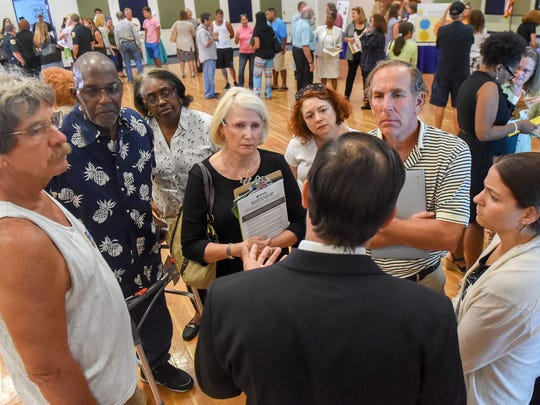 Public health officials and St. Lucie County residents gathered Tuesday, June 12, 2018, to discuss glioblastoma cancer concerns within the community during an open house hosted by the The Florida Department of Health in St. Lucie in Bailey Auditorium at IRSC's Treasure Coast Public Safety Training Complex in Fort Pierce.