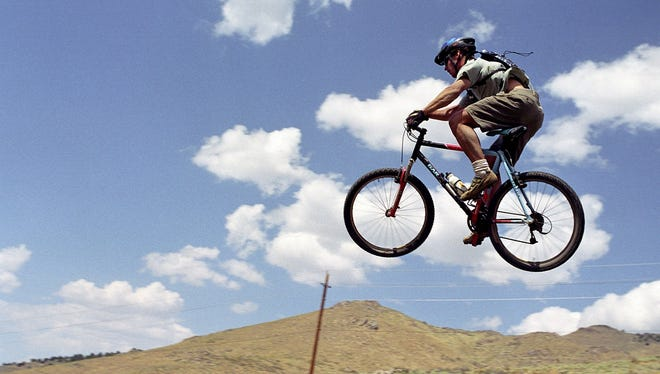 A mountain biker in Austin, Nevada.