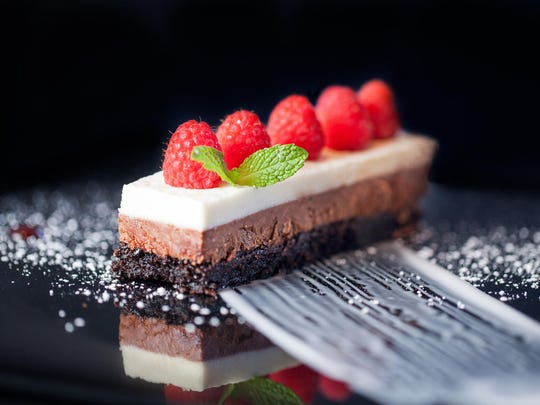 DaVinci's is big on its chocolate mousse cake, a new menu addition that is topped with milk chocolate and white chocolate mousse.