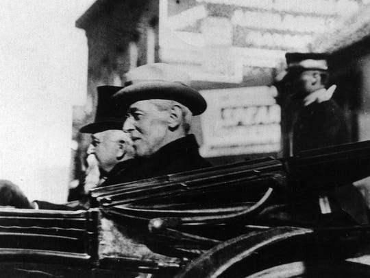 From the Hamrick Collection -President Woodrow Wilson in carriage for his visit in Staunton on December 28, 1912.