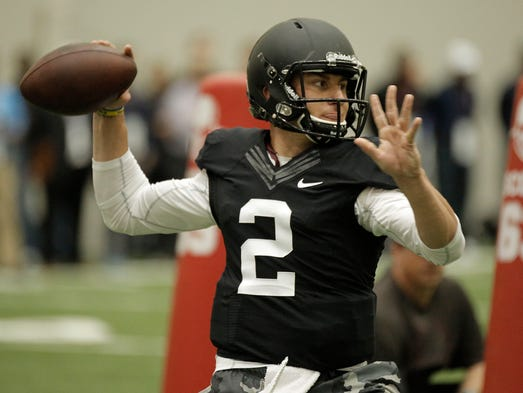 Former Texas A&M QB Johnny Manziel held his personal pro day at College Station, Texas, on March 27.