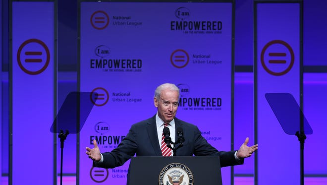 Vice President Joe Biden speaks to delegates at the National Urban League Conference on Thursday morning at the Duke Energy Center.