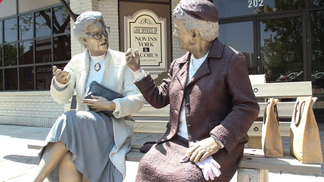 On of the life-size sculptures by the artist Seward Johnson are on display in downtown Toms River until September.