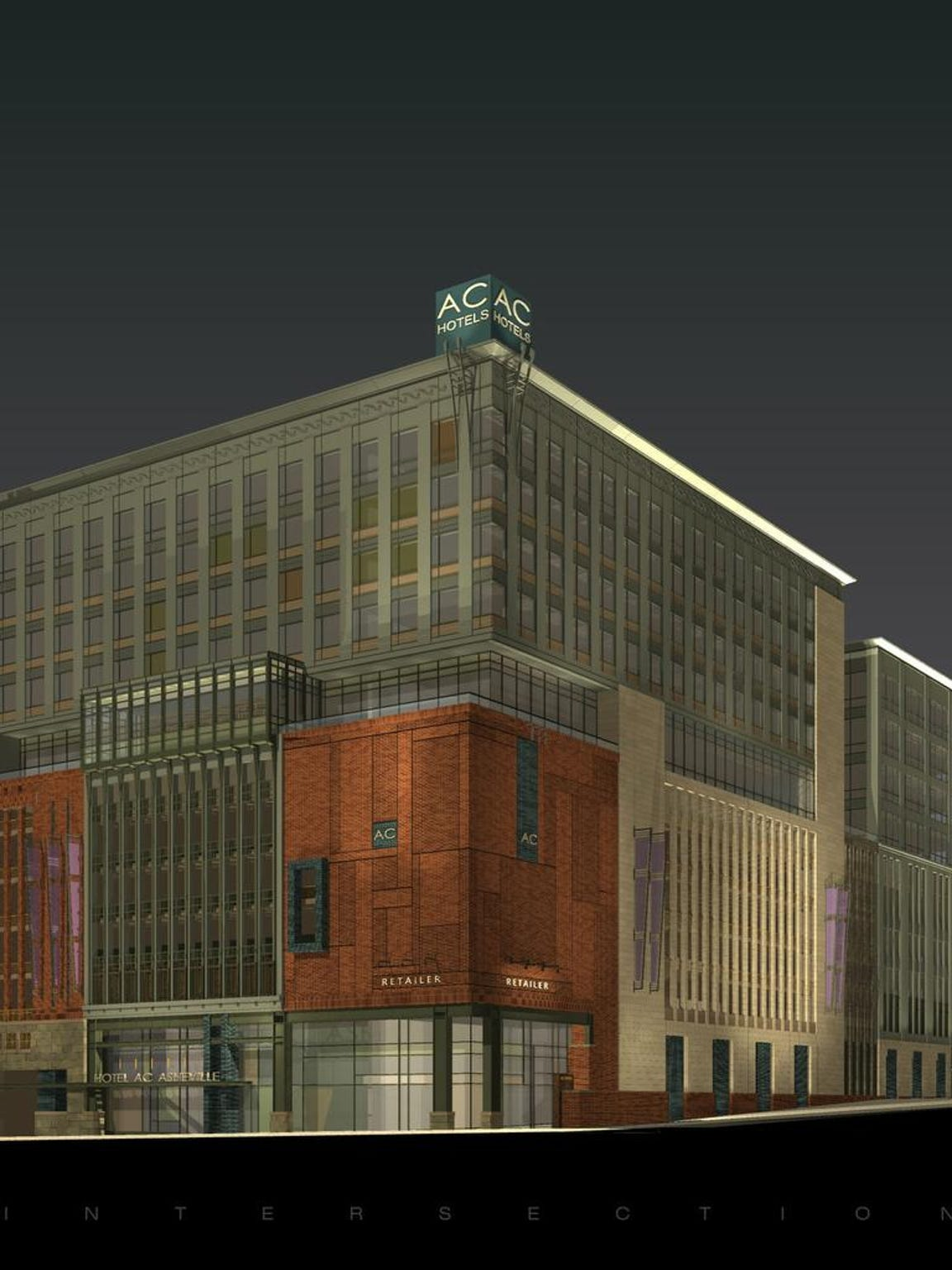 This artist's rendering shows the AC Hotel proposed for the northeastern corner of Broadway and College Street.
