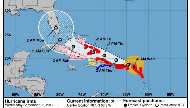 The National Hurricane Center's projected path for Irma at 8 a.m. on Wednesday, Sept. 6, 2017.