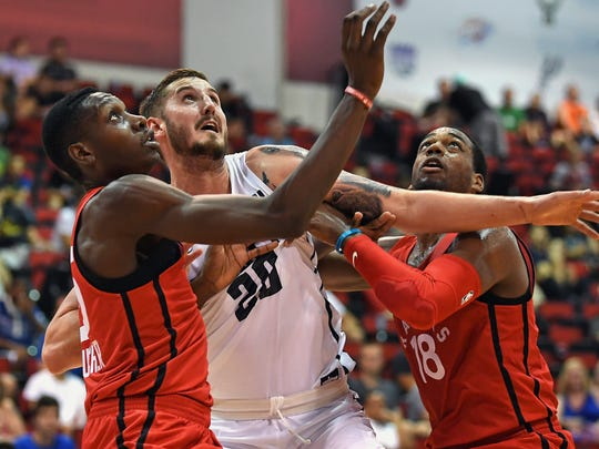 Denver Nuggets forward Tyler Lydon  looks for a free