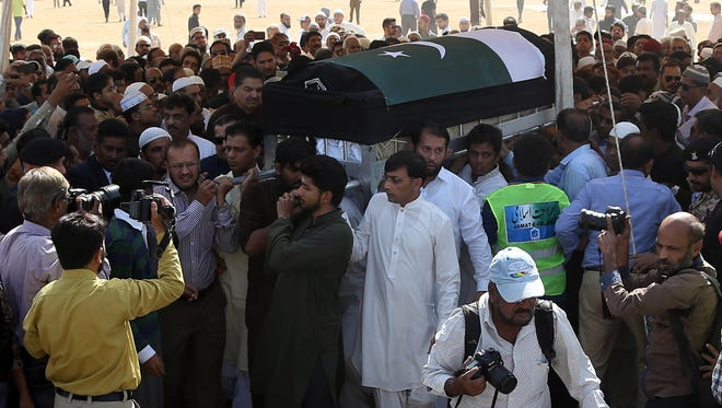 Relatives attend the funeral of Sabika Sheikh, an exchange student from Pakistan who was killed in shooting at school in Texas, USA, in Karachi, Pakistan, May 23, 2018.