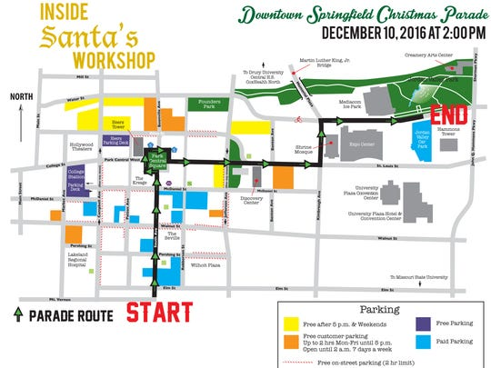 The route for Saturday's Downtown Springfield Christmas Parade.