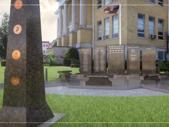Preliminary designs for the Warrick County War Memorial.