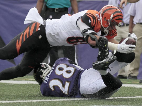 Cincinnati Bengals tight end Tyler Eifert (85) stretches over the goal line, but the play was called incomplete in the second quarter of the NFL Week Three game between the Baltimore Ravens and the Cincinnati Bengals at M&T Bank Stadium in Baltimore on Sunday, Sept. 27, 2015. At the half, Cincinnati led Baltimore 14-0.