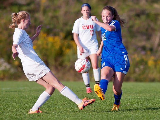 Colchester's Ava Hayes, right, tries to win the ball