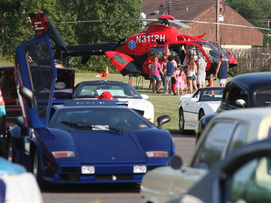 A car show and visit from an emergency medical helicopter