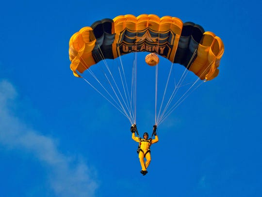 The U.S. Army Golden Knights parachute team will perform at the Greater Binghamton Air Show on Saturday.
