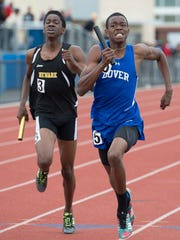 Dover's Tayshaun Chisholm wins the division I boys 4x400 meter relay at the 2017 DIAA State Track & Field Championships at Dover High School.