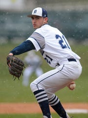 Dallastown pitcher Nick Parker, seen here in a file photo, has committed to play college baseball for Coastal Carolina, which won the NCAA Division I title in 2016. YORK DISPATCH FILE PHOTO