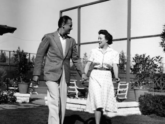 Charlie and Virginia Farrell on the grounds of the Racquet Club.