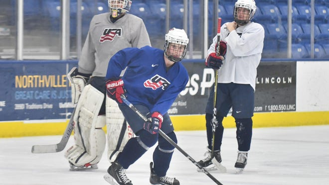 Jack Hughes, 16, plays in the United States National Team Development Program in Plymouth.
