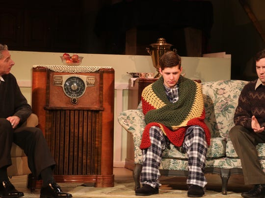 """From left, Mark Maresca plays Jack, Benjamin Glasner stars as Eugene and James Cluster is Stanley in the Conejo Players' production of """"Broadway Bound."""""""