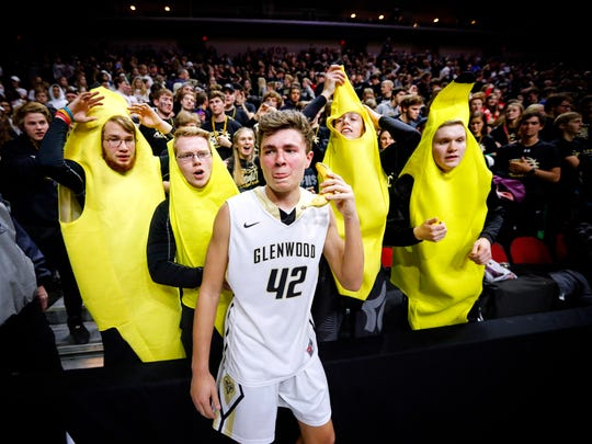 Glenwood player Ryan Blum poses for a photo with Kris Mintle, Ben Roenfeld, Nick Embray and Nick Stavas after Glenwood defeated Norwalk in the 3A semifinal Tuesday, March 6, 2018.