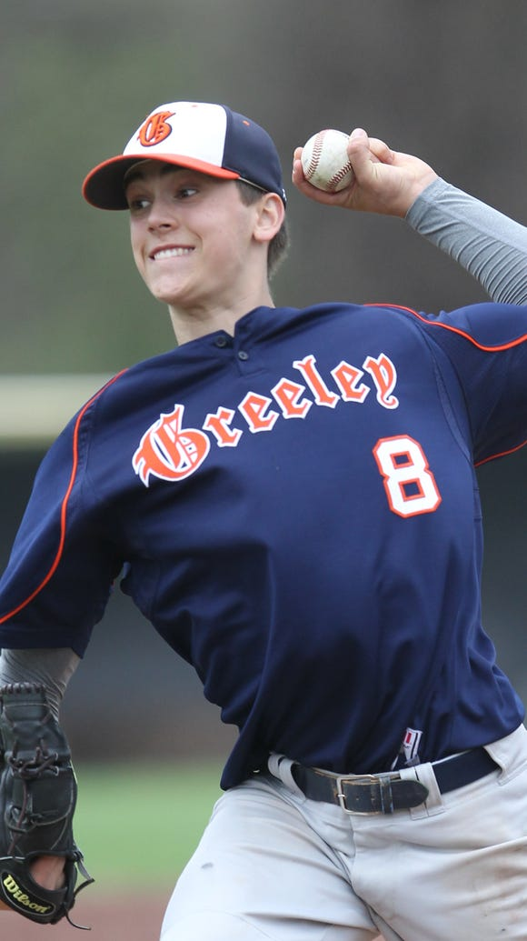 Horace Greeley pitcher Brandon Neeck (9) delivers a