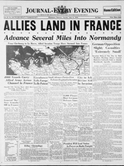 The front page of the Journal-Every Evening on June 6, 1944, after the Allies invaded Nazi-occupied France.