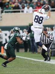 Penn State's Mike Gesicki measured 6 feet 5 and 247 pounds at the combine. He caught nine TDs last season.